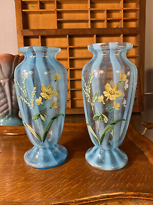 Pair of Antique English Victorian Handmade & Decorated Blue Clear Glass Vases