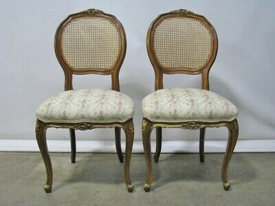 Pair Vintage French Provincial Louis XV Style Side Chairs With Caned Backs
