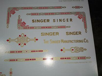 Singer Featherweight Gold W/Red Inlay **Pre Trimmed** Decals / Screen Printed