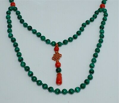 Old or Antique Chinese Malachite and Coral Bead Necklace Silver Clasp