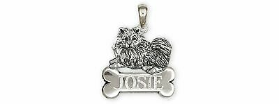 Keeshond Jewelry Sterling Silver Handmade Keeshond Personalized Pendant  KSH1B-N