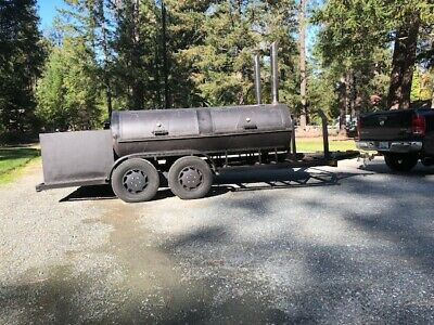 Custom built BBQ pit Charcoal grill Smoker concession Trailer 20' tandem axle