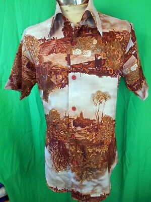Amazing Vintage 1970s Miller Short Sleeve Polyester Picture Print Summer Shirt M