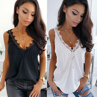 Women Lace V-Neck Solid Vest Top Backless Cami Tank Summer Casual Singlet Blouse