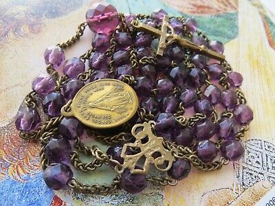 Late 1800s Long Antique Amethyst Purple Glass Beads Rosary-in Brass/Miraculous