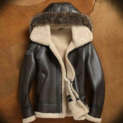 Mens Brown Aviator A2 Removable Hooded Faux Fur Bomber Genuine Leather Jacket