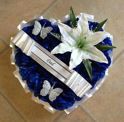 Silk Funeral Flowers Blue Heart Wreath Memorial Tribute Grave Artificial Lily