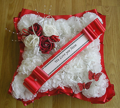 ARTIFICIAL FUNERAL FLOWERS SILK WREATH MEMORIAL GRAVE Cushion Red White Tribute