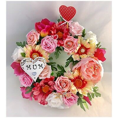 Silk Pink Flower Ring Wreath Memorial Tribute Funeral Grave Artificial Peony