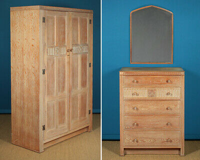 Limed Oak Wardrobe, Chest of Drawers, Mirror & Stool c.1950.