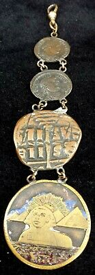 Antique Watch Fob From 2 Ancient Roman, 1 Byzantine Coins & Egyptian Magic Token