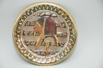 """Egyptian Plate Decorative King Tut Brass Copper Hand Made Wall Hanging 7"""""""