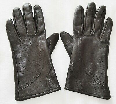 Ladies True Vintage BHS Brown Leather Driving Gloves Size 7 Lined Small/Medium