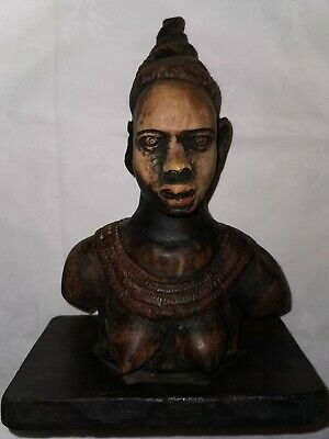 Antique carved wooden bust of an African woman African art