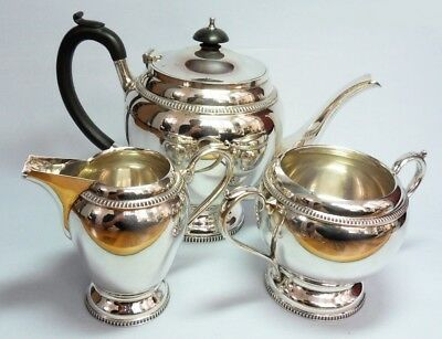 Kaffee  Tee  Service  England 1900   Walker & Hall   Tea set silver  1320 Gr.