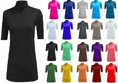 New Ladies Polo Roll Turtle Neck Plain Stretch Short Sleeve Jumper Top