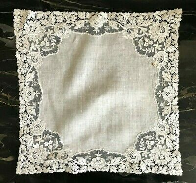 Antique Linen Brussels Point De Gaze Lace Floral Bridal Handkerchief Hankie