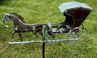 Vintage Copper Horse & Buggy Country Doctor Weather Vane Euc!