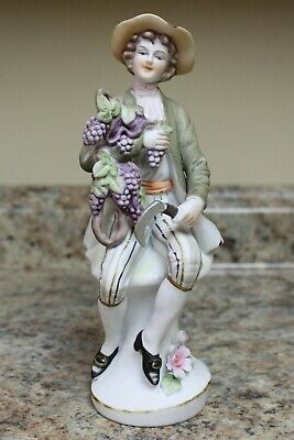 ORIGINAL ARNART CREATION PORCELAIN FIGURINE - GRAPE HARVEST - JAPAN - 8 inch