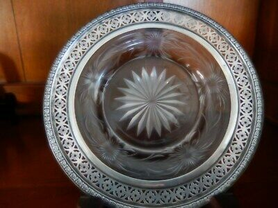 "Antique  6"" Crystal Cut Glass Plate With  Sterling Silver Surround Rim"