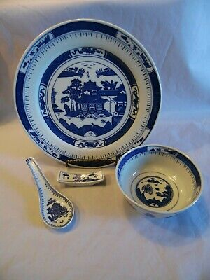 Vintage Blue and White Chinese Asian Porcelain Pagoda House 4 PC Table Setting