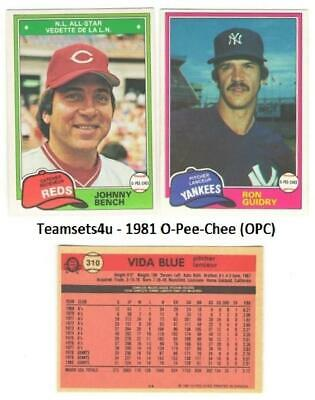 1981 O-Pee-Chee (OPC) Baseball Team Sets ** Pick Your Team Set **