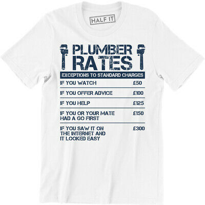 Mens Olive Plumber Rates T-Shirt Plumber Student TShirt Funny Novelty