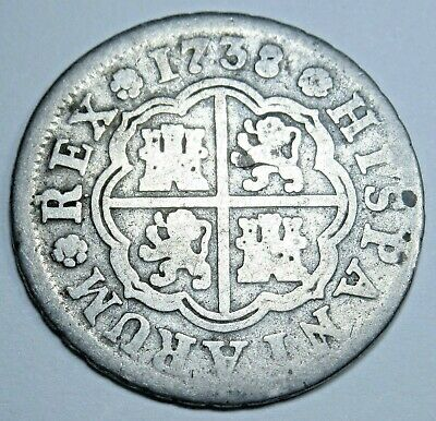 1738 Spanish Silver 1 Reales Piece of 8 Real Colonial Era Pirate Treasure Coin