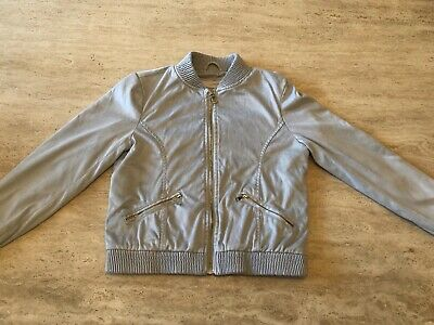 River Island ~ Girls Grey Faux Suede Bomber Jacket ~ Age 9-10 Years
