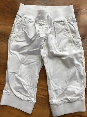 Girls NEXT White Cotton Cropped Summer Trousers Age 6