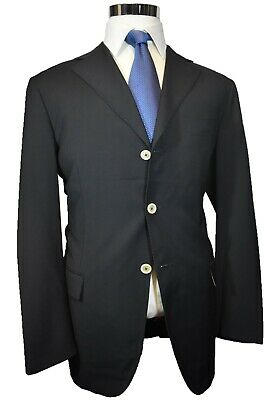 Pal Zileri Concept Solid Black 100% Wool 3-Btn Sport Coat Blazer Jacket 44R