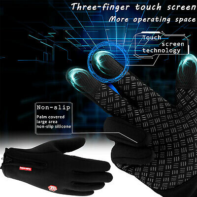 2019 New Three Fingers Touch Screen Gloves Zipper Thermal Winter Warm Mittens