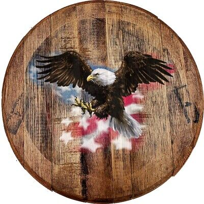Whiskey Barrel Head American Bald Eagle Flying Over Flag Patriotic Art Bar Sign