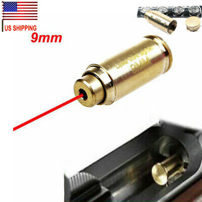 US 9mm Red Dot Laser Brass Cartridge Boresight  For Rifle Scope CAL Hunting F46