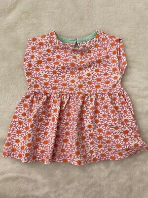 Girls Mini Boden Pink Orange Floral Dress Tunic Top Size 3-4Y