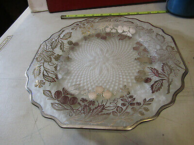 Sterling Silver Overlay On Glass Ornate Art Nouveau Tray Platter Dish