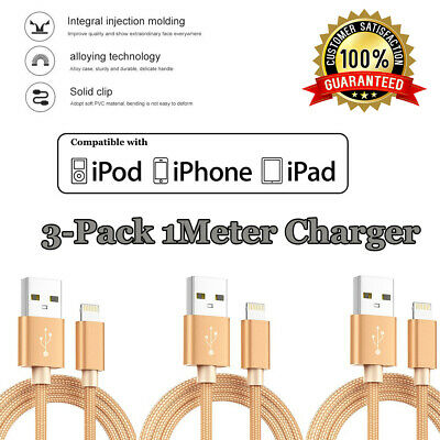 3x USB Lightning Charging Charger Cable for iPhone 5 5S 8 7 6 X XS Max XR 11 Pro