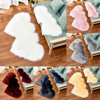 UK Fluffy Heart Shaped Rug Shaggy Floor Mat Faux Fur Home Bedroom Hairy Carpet