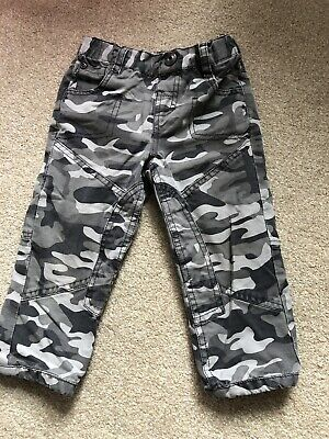 Vertbaudet Boys Combat Lined Trousers Age 2 Years Grey