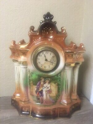 Antique Porcelain Mantel Clock Neo-Classical Design