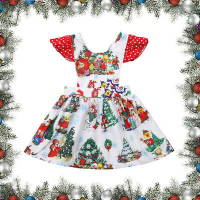 Toddler Kids Baby Girls Christmas Santa Swing Dress Holiday Party Clothes