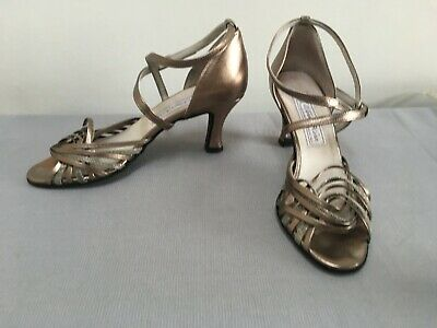 Werner Kern Strappy leather Dance Shoes Bronze/ Gold  Ballroom UK 4