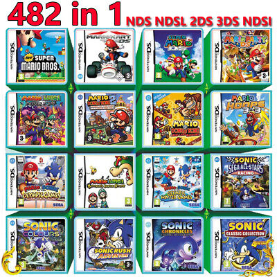 For Nintendo DS 2DS 3DS NDS NDSL NDSi 482 in 1 Game Games Cartridge Multicart
