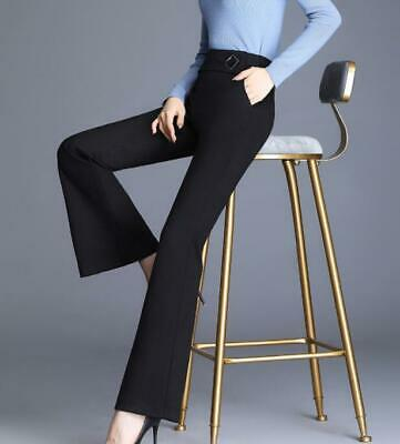 Women Bell-bottoms Sexy Long High Waist Slim Fit Flare Pants OL Trousers LHM15
