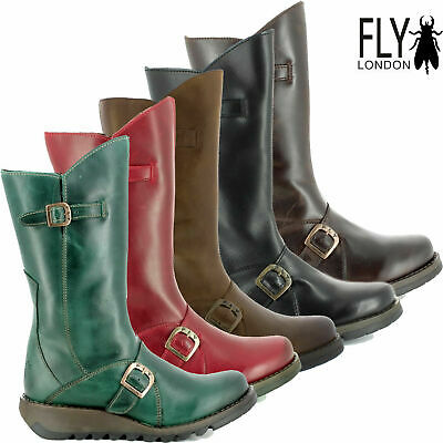 Fly London Womens Mes Premium Leather Mid Calf Wedge Zip Up Boots Ladies Shoes