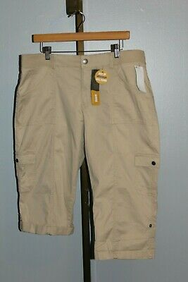 Lee Relaxed Fit Skimmer 16M Roll Up or Down Capri Cotton Bungalow Khaki Tan NEW
