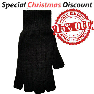 Mens Ladies Thermal Thinsulate Fingerless Gloves Knitted Wooly Plain Black Glove