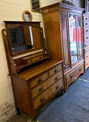 Edwardian Satin Walnut Wardrobe & Matching Dressing Chest