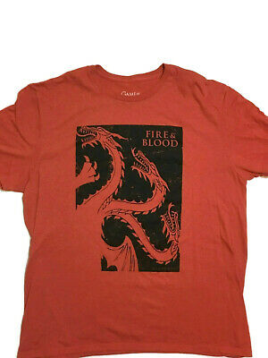 Authentic HBO Game Of Thrones Fire and Blood Red TShirt Mens Size XL