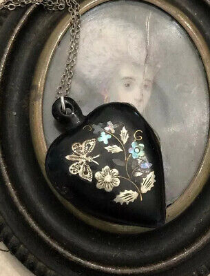 Antique Victorian Pique Silver MOP Butterfly Tulip Heart Mourning Locket Tintype